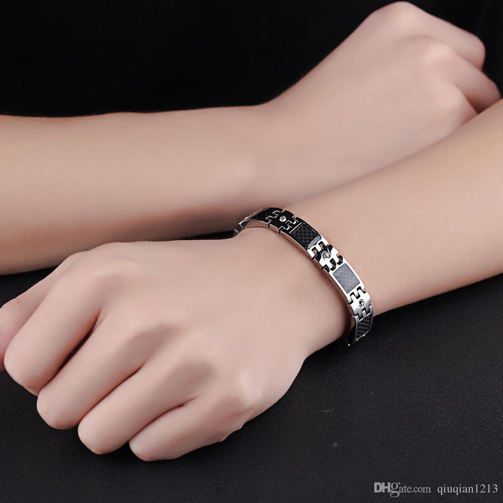 Men Stainless Steel Cuff Bracelet Carbon Fiber Material Hematite ...