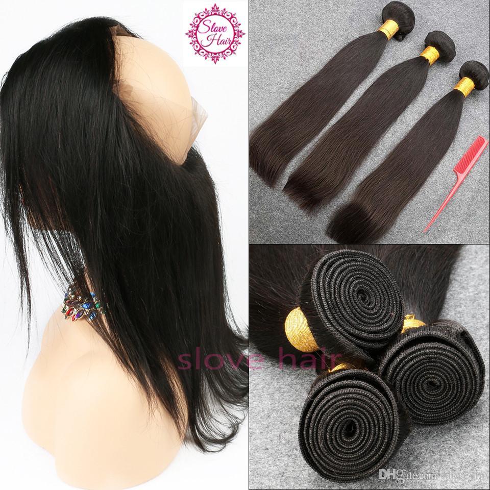 Slove JK Brésilienne Cheveux Raides 3 Bundles Avec Remy Frontal Cheveux Humains Bundles 360 Dentelle Frontale Livraison Gratuite Pour Noir Woma