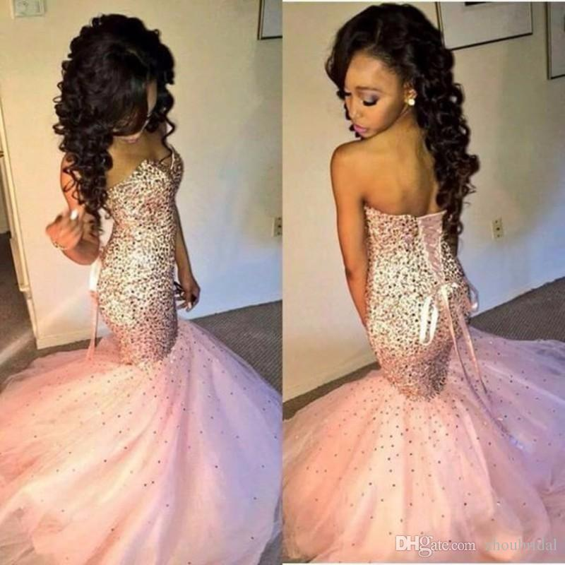 Sparkly Crystal Beaded Evening Gown Corset Junior Long Sexy Sweetheart Sequin Pink Mermaid Prom Dresses 2016 Lily Collins Lace Up