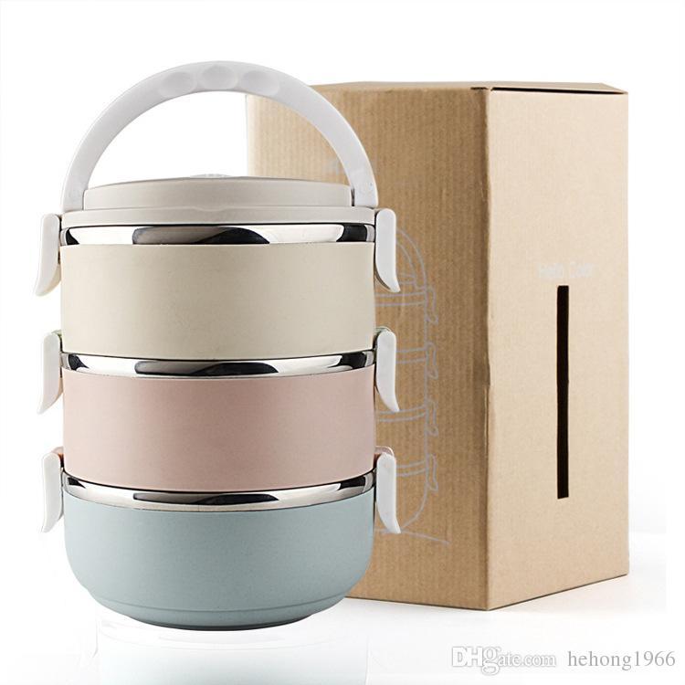 Caja de Bento de acero inoxidable portátil Creativamente coloridas cajas de almuerzo para alimentos con contenedores Almuerzo caso de niños Picnic 24 44qh A R