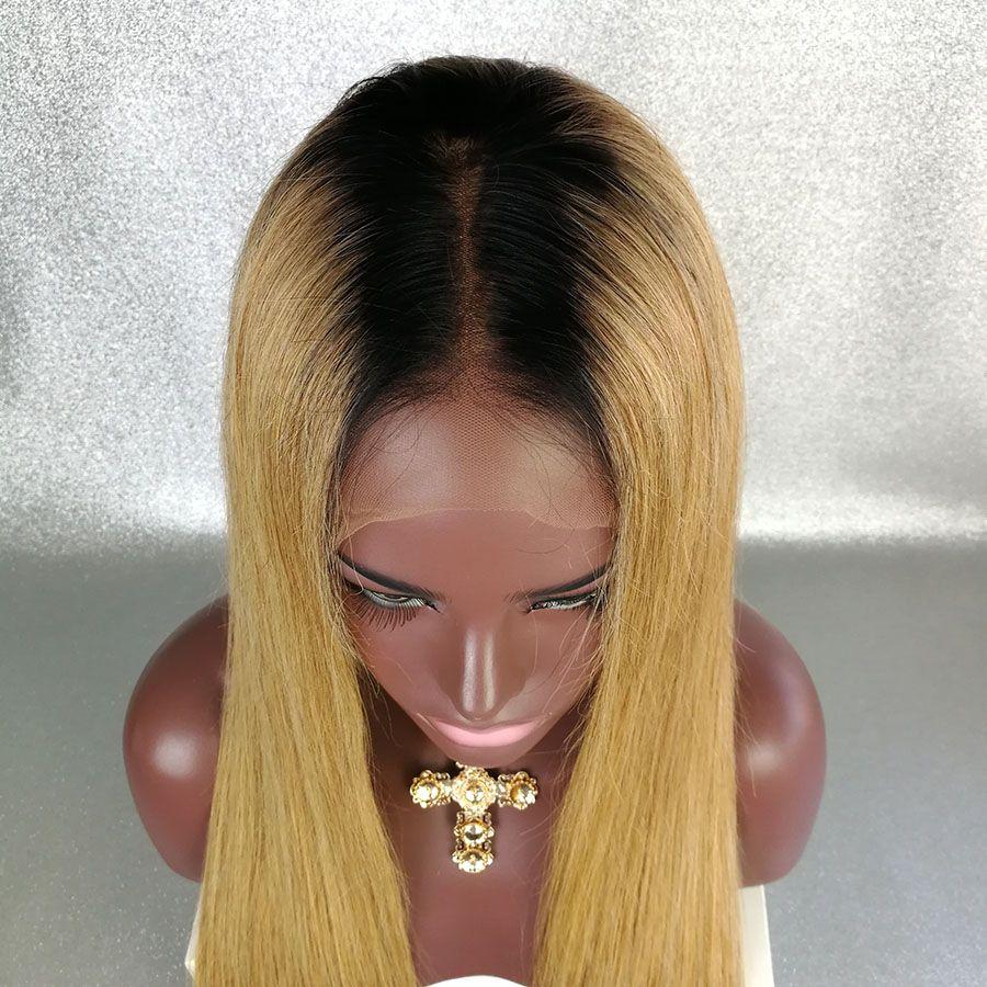 Pelucas llenas del pelo humano del cordón Ombre T1B / 27 Pelo recto brasileño sedoso de la Virgen 150 densidades naturales del rayita del pelo nudos blanqueados pelucas delanteras del cordón