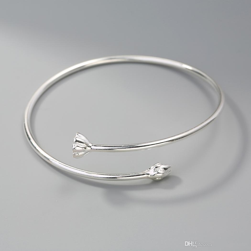 925 Sterling Silver Jewelry Yoga Delicate Lotus Cuff Bangle Bracelet Women Unique Handmade Original Design