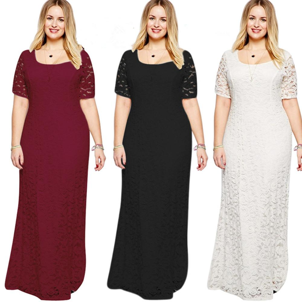 Fat MM Large Size Women Lady Girls Elegant Evening Short Sleeve Lace Long  Dress Clothes 3096 Women Dress Long Dress Lace Dress Online with   38.33 Piece on ... 6f5a73062d6b