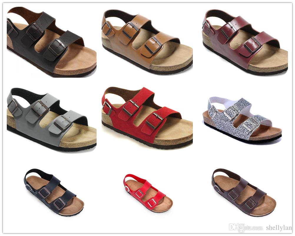 86a021fa767475 Famous Brand Arizona Men Flat Heel Sandals Women Multaicolor ...
