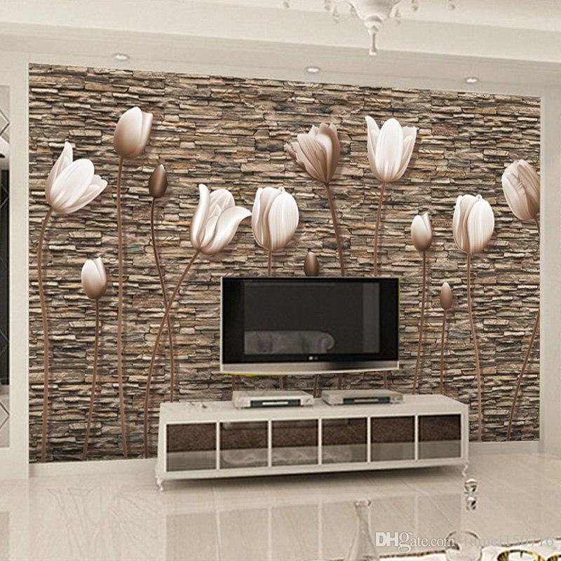 Living Room Background Animated: Large 3D Wall Murals Photo Wallpaper Flower For Living