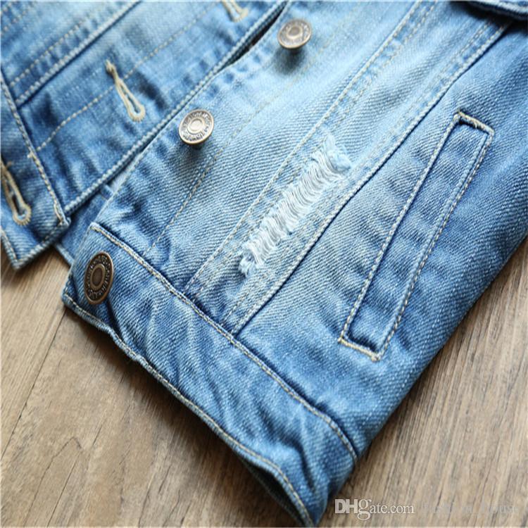 Gilet cardigan ricamato bambini Gilet senza maniche Gilet di jeans blu bambini Outwear Girls Gilet di pizzo carino