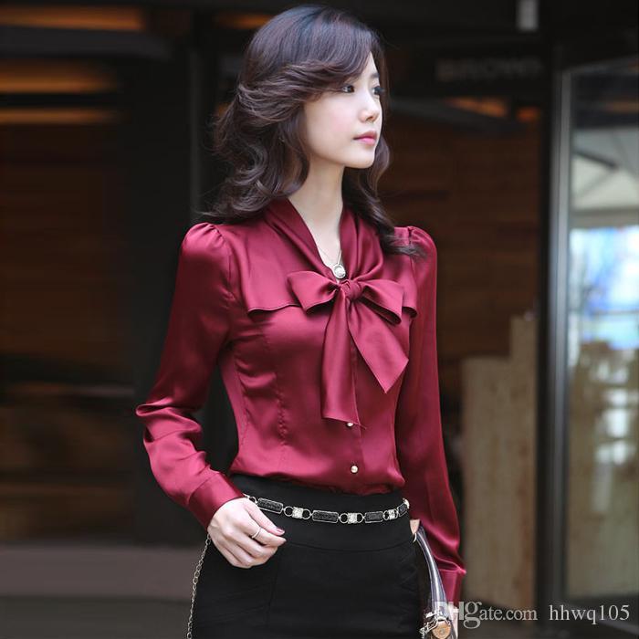 c2f28d8410909 Compre Senhoras Elegantes De Seda Blusas Camisa Arco Nó Manga Longa  Escritório Trabalho Blusa Slim Fit Formal Camisas De Vestido S 3XL HOG1102  De Hhwq105
