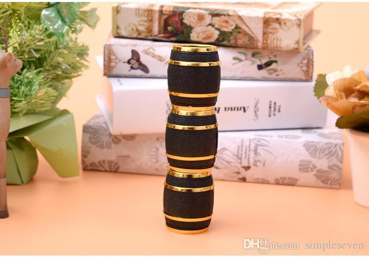 [Basit Yedi] Sevimli Siyah Beer Barrel Plastik akın Yüzük Takı Kutusu Küpe Kulak Stud Kılıf Hediye Konteyner