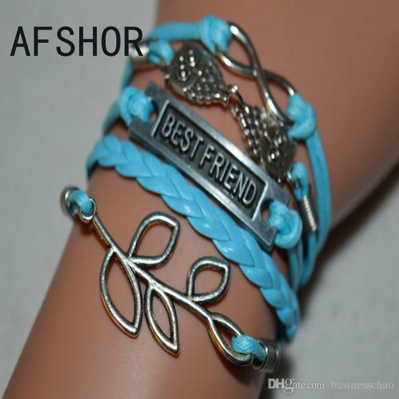 Hot argento antico intrecciato blu multistrato corda in pelle braccialetto fascino braccialetti New Fashion Donna Uomo Foglie Gufo Best Friend Infinity gioielli