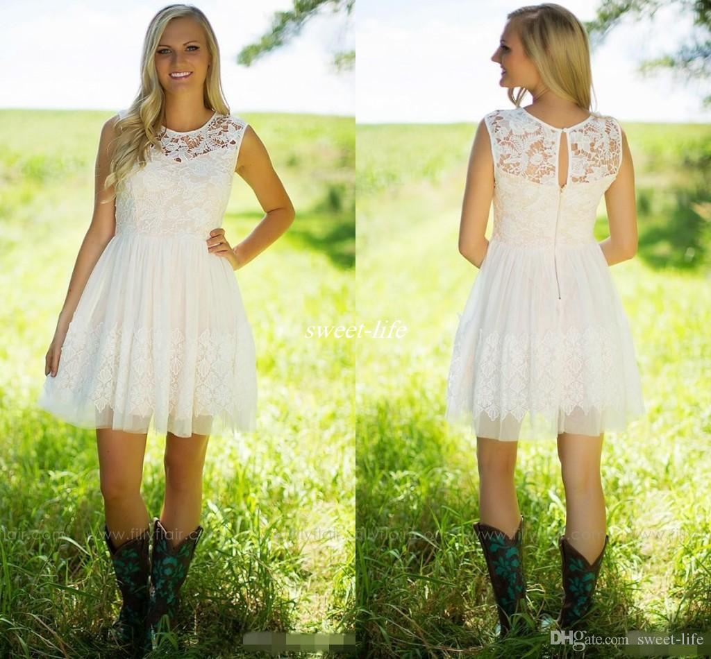 2017 Country Style Ivory Lace Short Bridesmaid Dresses Tulle Jewel ...
