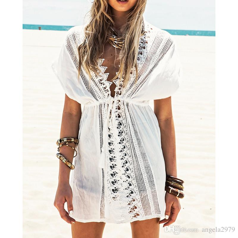 b64912e8e5 2019 New Beach Cover Up White Lace Swimsuit Cover Up Summer Crochet  Beachwear Bathing Suit Cover Ups Beach Tunic From Angela2979, $14.57    DHgate.Com