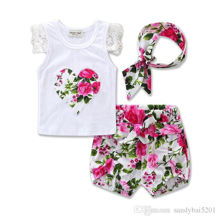 Baby Girls Sets 2017 Kids Girls Lace T-shirt + Bow Short Pants + Headband 3pcs Suits Newborn Infant Floral Print Outfits Children Clothing