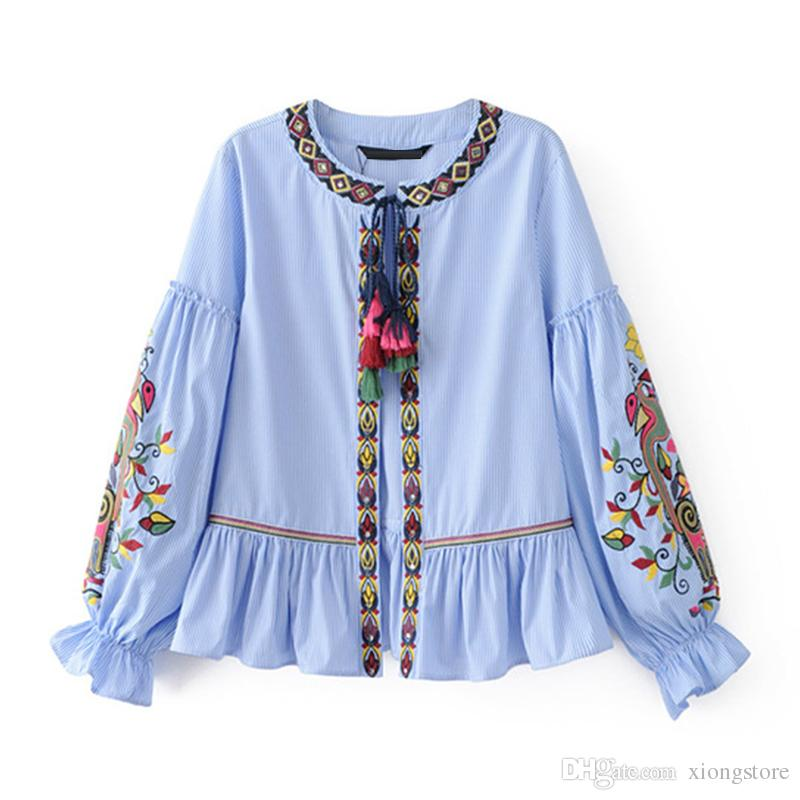 2019 Women Jackets Ethnic Embroidery Coats Tassel Lace Up O Neck Long Sleeve Blue Striped Cardigan blue Plus Size chaquetas long sleeve