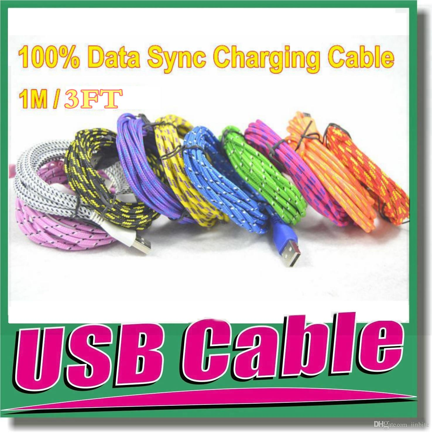 Braided Micro USB Cable Type C Cable 1M 2M 3M High Speed Phone Charger Sync Data Cord for Samsung S6 S7 S8 NOTE 8 NOTE9 LG Universal Phone