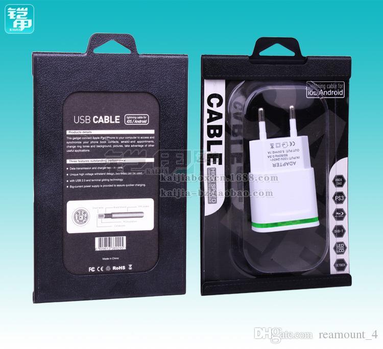 Großhandel Universal Klar Transparent PVC Kunststoff Einzelhandel USB Paket Verpackung Box für Ladegerät Datenleitung 90 * 138mm
