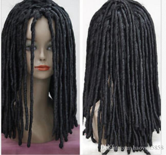 Perruques noires ondulées perruques de cheveux