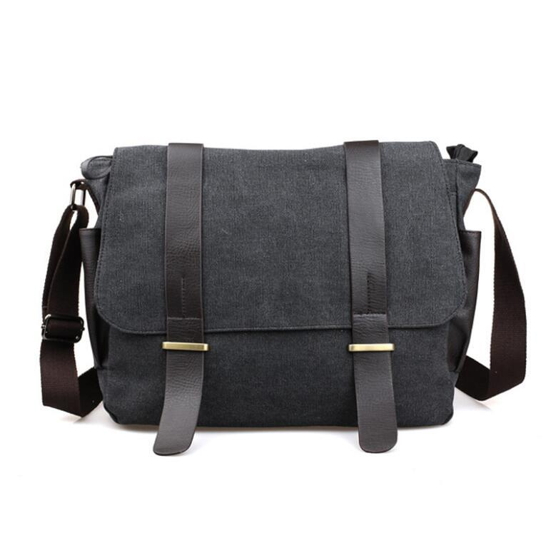 Al por mayor-Diseñador Maletín Hombres Messenger Bags Vintage Canvas  Shoulder Bag Mens Buisness Bag Attache 14 pulgadas Maletín para laptop  Maletín de ... f7e3f82e71787