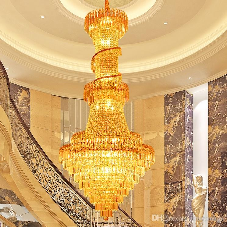 Gold crystal chandeliers luxury long modern chandeliers lighting gold crystal chandeliers luxury long modern chandeliers lighting fixture foyer stair hotel restaurant club spiral droplight d80cmh18m chandeliers crystal mozeypictures Images