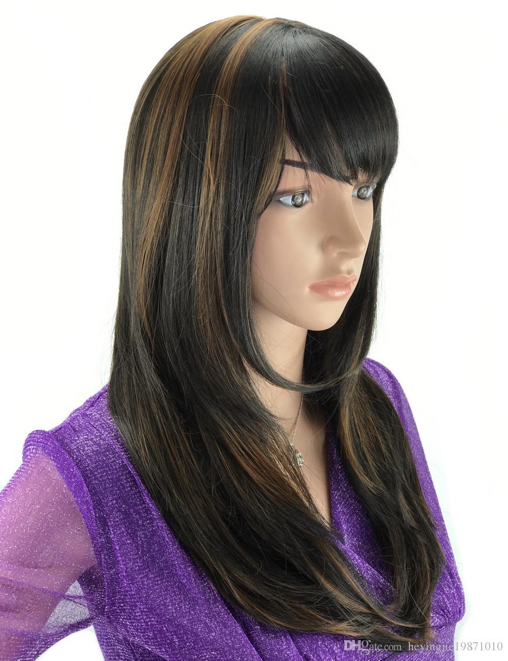 Xiu zhi mei 45 cm ciemnobrązowy średnia długość afrykańskiego pochodzenia peruki dla czarnych kobiet odporne na ciepło syntetyczne naturalne proste włosy peruka