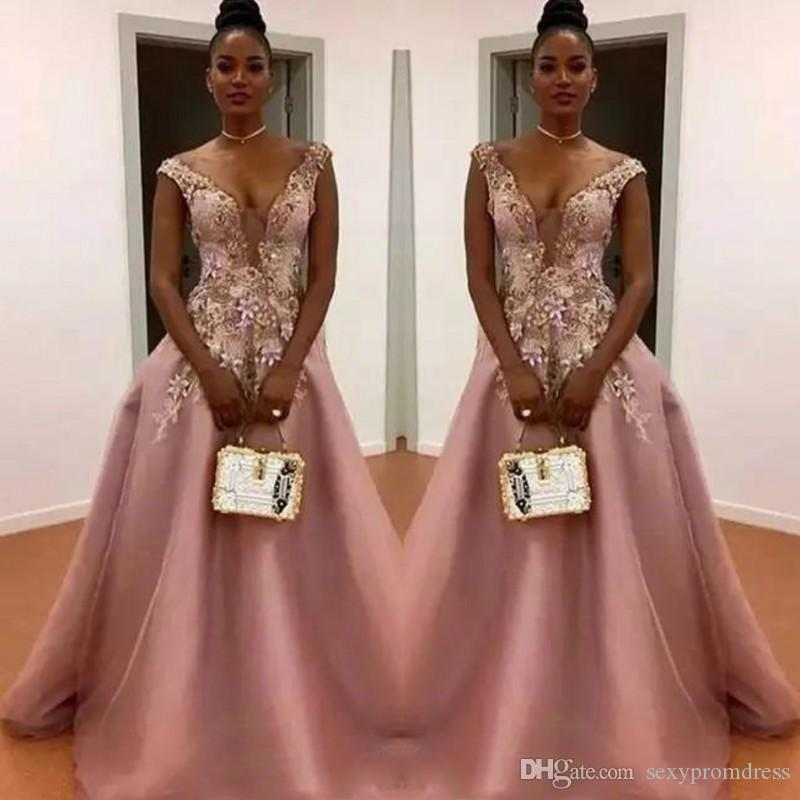 5d0f518a2f8 Dusty Pink A Line Prom Dresses South African Sheer Neck Flora Appliques Evening  Gowns Floor Length Zipper Back Formal Party Dress Prom Dress Patterns Prom  ...