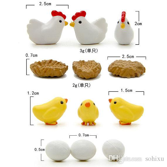 Chicken Breed Hen Family Bonsai Tools Fairy Garden Decoration Miniatures Resin Terrarium Figurines Jardin Micro Landscape