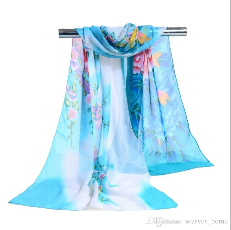 Factory Wholesale Womon Brand Luxury Flower Print Scarf Ink Paiting Pattern Scarves Sarongs Beach Fashion Scarf 160*50cm arab hijab