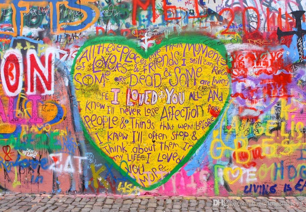 2018 Graffiti Wall Backdrop Photography Romantic Valentine\'S Day ...