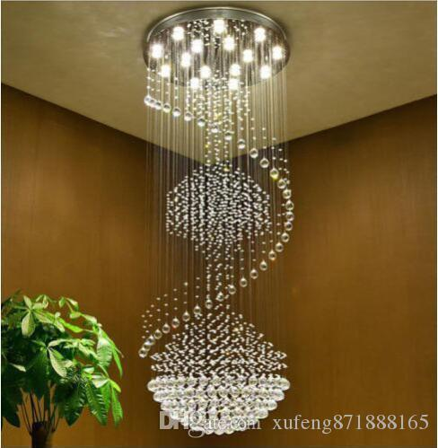 Double Staircase Staircase Villa Living Room Lamp K9 Crystal Led ...