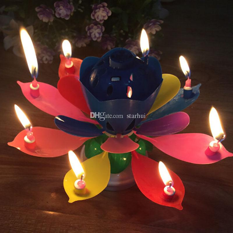 Colorful Petals Music Candle Children Birthday Party Lotus Sparkling Flower Candles Squirt Blossom Flame Cake Accessory Gift WX9-104
