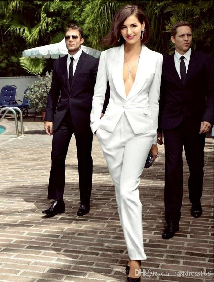 2018 Smart White Ivory Women Tuxedos Slim Fit Suits For Women ...