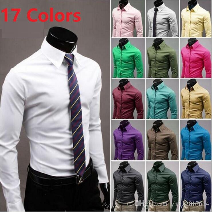 01b00d0e Drop shipping 17 Colors Men's Slim business casual Shirts Muscle Fit Luxury  Stylish Casual Designer shirt Wholesale & Retial