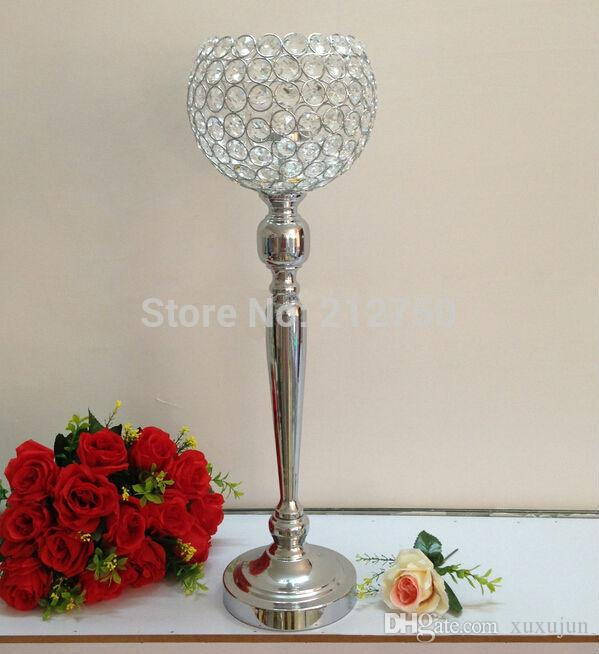 65cm 25.6inch Express free shipping silver wedding table centerpieces glass crystal candle holders