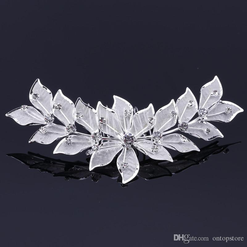 leaf shape Silver Plated Crystal Flower Bridal Tiara Mini Hair Comb Pin