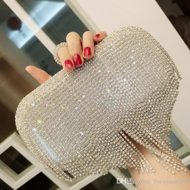 2018 New Arrival Elegant Sliver Gold Full Pearls Beaded Bridal Wedding Hand Bags One Shoulder Clutch Bags Evening Prom Party Formal Party