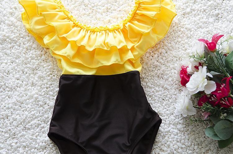 Kids Girls Bikini Swimwear Baby Girls Ruffle Swimsuit Toddler One-Piece + Hat Set 2017 Princess Bathing Tankini Beach Clothing B184