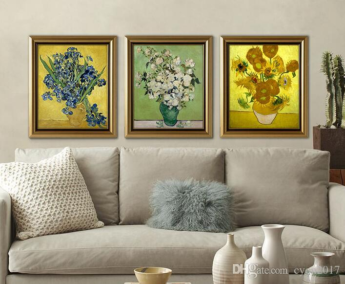 VASE OF FIFTEEN SUNFLOWERS Giclee poster By vincent Van Gogh paint Wall oil Painting picture Home Decorative paint on canvas B07