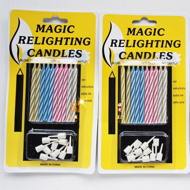 Свечи Magic Trick Relighting Свеча День Рождения Торт Вечеринка Шутка Рождественский Подарок Веселье Выдувающая свеча бессмертный три стиля