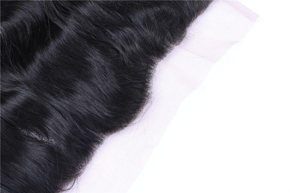 13 * 4 pulgadas oreja a oreja seda Cierre frontal base del cordón de la onda del cuerpo 8A brasileña indio peruano malasio de la Virgen del pelo humano con el pelo del bebé