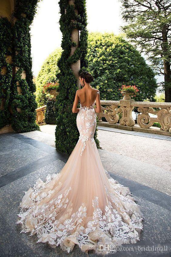 Afryki Szampańskie Tulle Syrenki Suknie Ślubne Czapka Rękaw White Approutioques Koronki Suknie Ślubne Sexy Backless Wedding Suknie Vestido de Novia