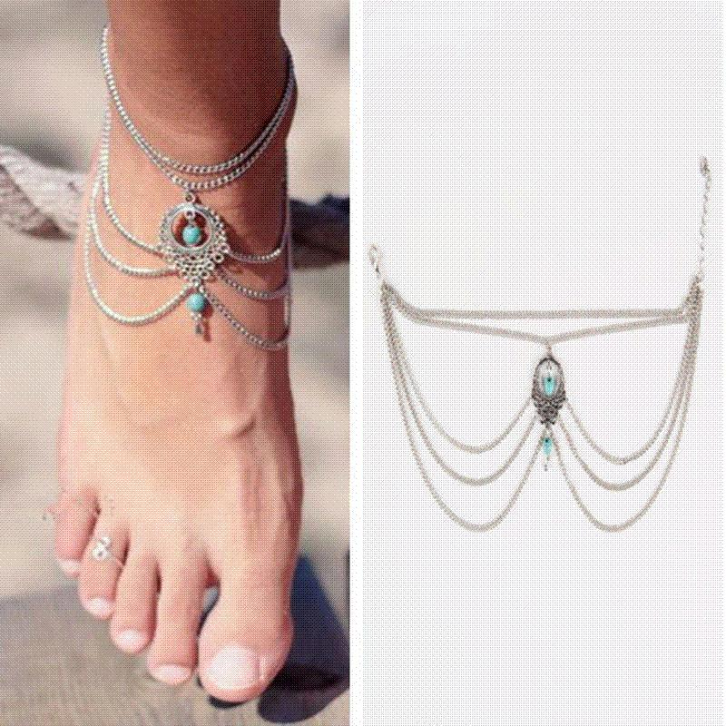 anklet beach jewelry item for chain anklets hollow women foot boho ankles bracelet multi feet in summer girl silver bijoux gypsy big from metal stone ankle