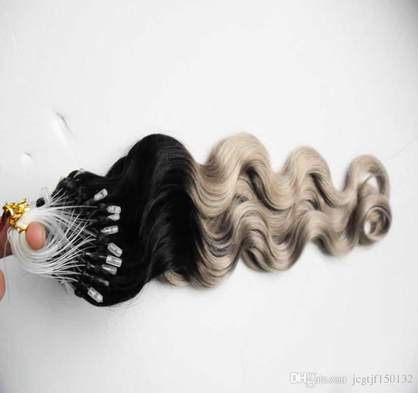 Серебристый ombre объемная волна наращивание волос микро петля 1 г 100 с T1b / серый rey ombre наращивание человеческих волос микро кольцо