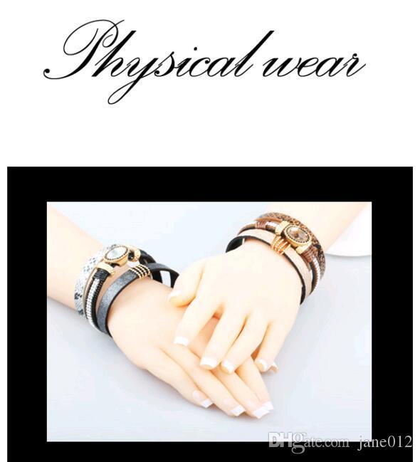 Tendance De La Mode Multicouche En Cuir Bracelet Fermoir Magnétique Noir Marron Alliage Gemmes Pierre Bracelets Bijoux Haute Qualité