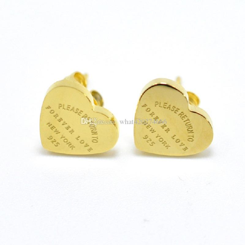 "Stainless Steel Rose Gold Color Luxury Love Heart Earring Women 'Forever love"" Stamp Women Stud Earring Jewelry Gift"
