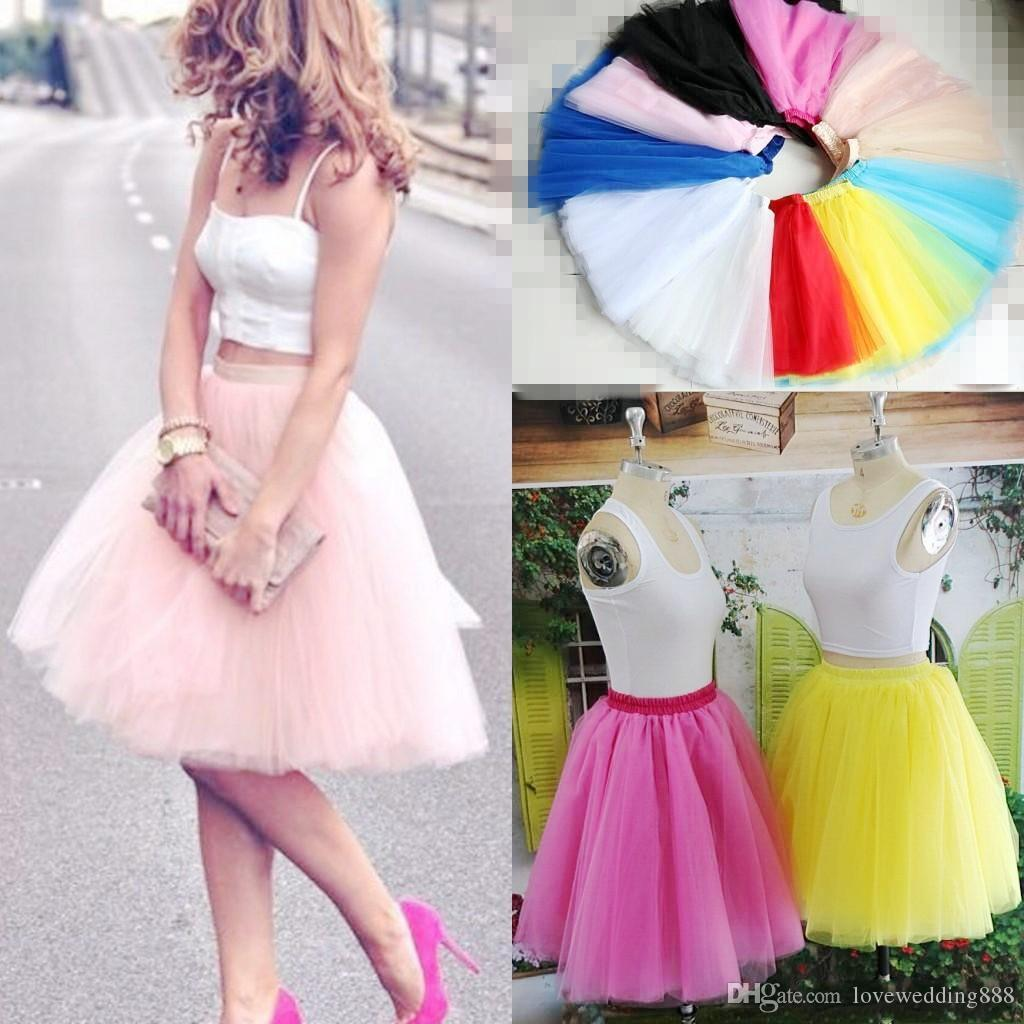 2019 Real Picture Knee Length Tulle Tutu Skirts For Adults Custom Made A-Line Cheap Party Prom Cocktail Special Occasion Short Dress