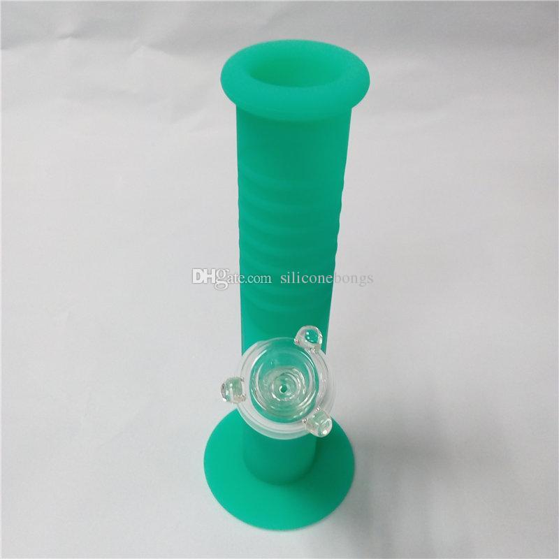 Glow In Dark Green Mini Bongs de agua de silicona Diez colores 9.5 pulgadas Mini Bongs de silicona Bongs de aguaBlack Bongs Bubbler Pipe Free Shiping