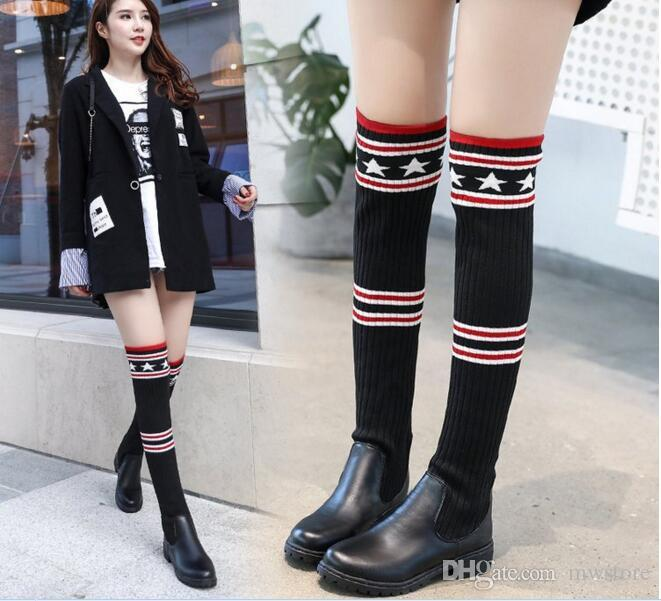 dff9112376a1 2018 Autumn Knitting Ankle Boots Ladies Fashion High Heels Woman ...