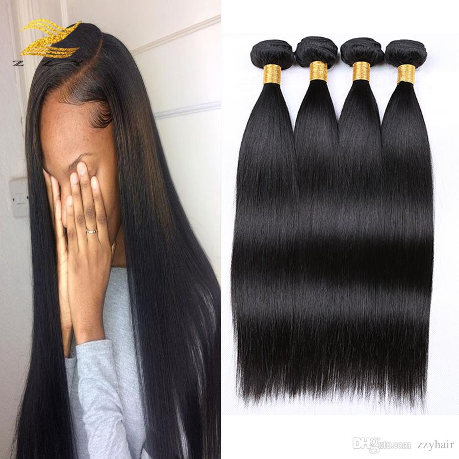 Indian Straight Hair Weaves 4 Bundles Unprocessed Human Hair Weave