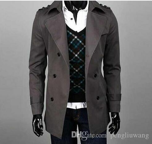 c6811531e9525 2019 2017 New Arrival Autumn Slim Sexy Trench Coat Men Khaki Black  Outerwear Mens Trench Coat Clothing Classic Casual Belt Epaulet Big Size  9XL From ...