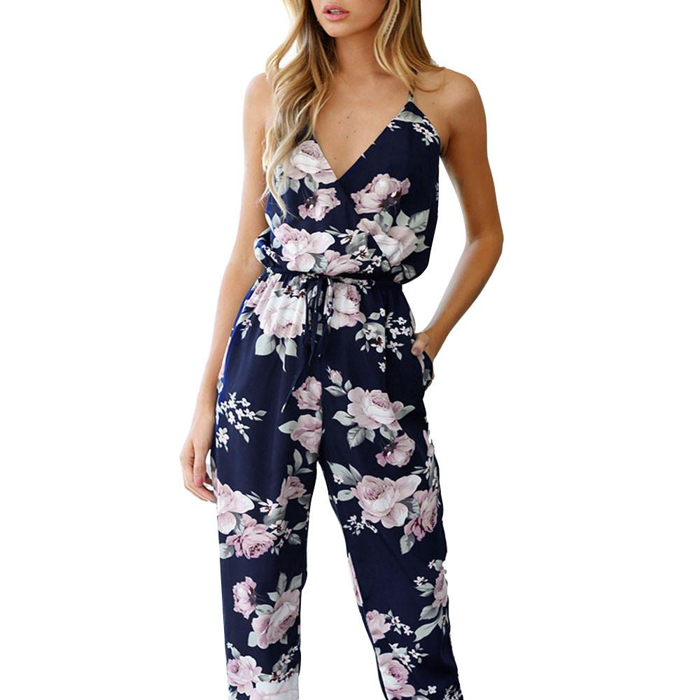 cc685d815df3 2019 Sexy Women Backless Jumpsuit Fashion Floral Printed Playsuit Rompers  Womens Summer Sleeveless V Neck Sling Jumpsuit Trousers #YL From Kepiwell8,  ...