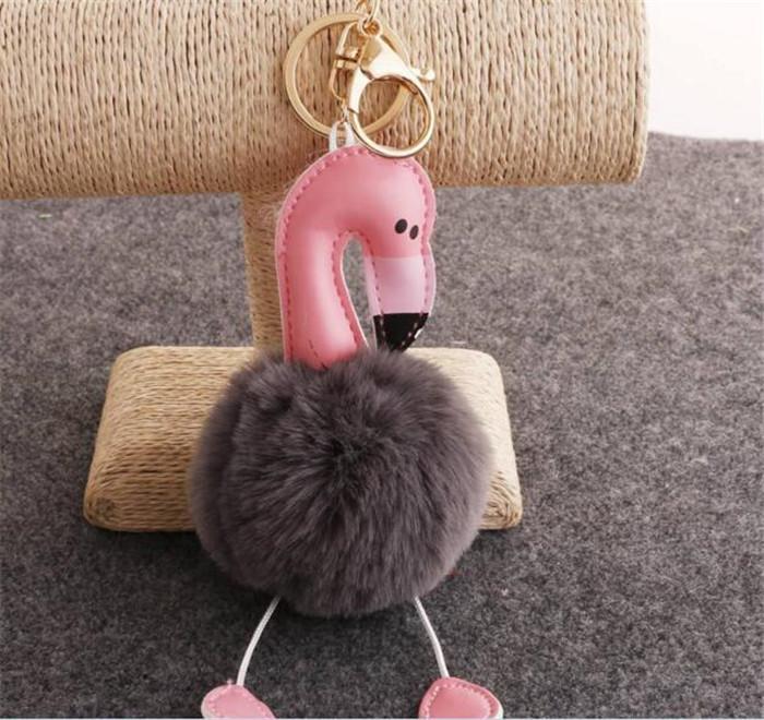 50 pz Cartoon Flamingo Keychain Fluffy Coniglio Artificiale Palla di Pelliccia Catena Chiave Auto Bag Portachiavi Ciondolo i R064